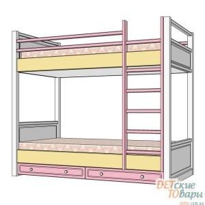 Детская двухъярусная кровать MyBaby Rose Dreams