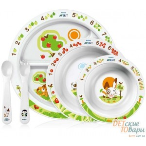 Детский столовый набор посуды Philips Avent с развивающими рисунками SCF716/00
