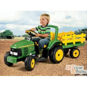 Детский трактор с прицепом Peg-Perego JOHN DEERE POWER PULL + JOHN DEERE STAKE-SIDE