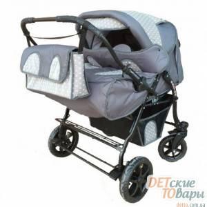 Детская коляска-трансформер для двойни Verdi bajtek (неповоротные колеса)